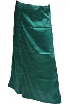 SPC20009 Bottle Green Poly Satin Saree Sari Petticoat / Underskirt