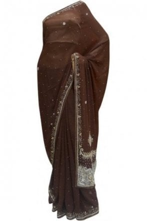 DES20004 Beautiful Coffee Brown & Silver / Gold Party Saree