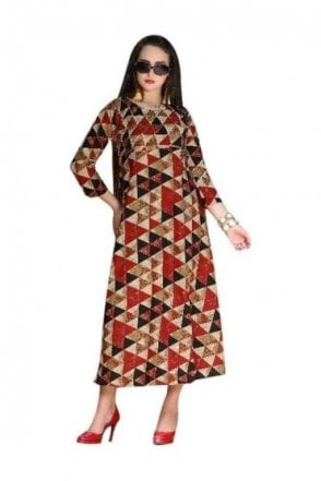 KUR19001 Stylish Maroon and Black Stylish Designer Kurti Tunic Dress