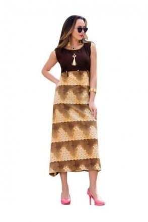 KUR19005 Gorgeous  Brown and Beige Gorgeous  Designer Kurti Tunic Dress