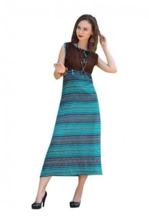 KUR19006 Stunning Brown and Blue Stunning Designer Kurti Tunic Dress