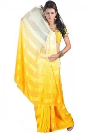 PPS20005 Yellow Satin Georgette Plain Shaded Party Saree