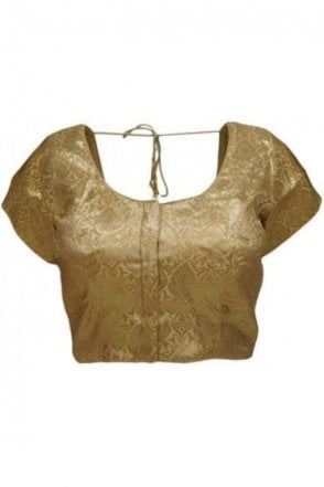 RMB20002 Gold and Antique Gold Ready Made Designer Saree Blouse