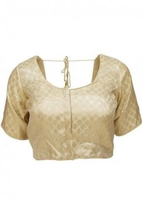 RMB20005 Gold and Antique Gold Ready Made Designer Saree Blouse