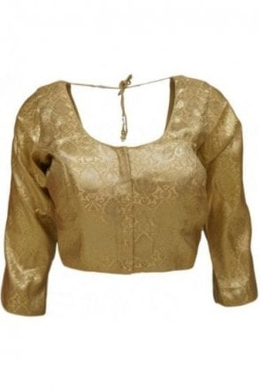 RMB20001 Gold and Antique Gold Ready Made Designer Saree Blouse