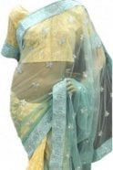 Krishna Sarees RBS18006 Stylish Sea Green & Yellow Party Saree