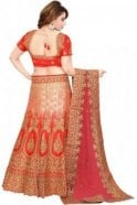 Krishna Sarees WBL19012 Beautiful  Red and Peach Bridal / Party Wear Lengha (Semi- Stitched)