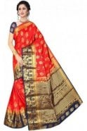 Krishna Sarees APS19223 Red and Navy Blue Fancy Art Silk Party Saree