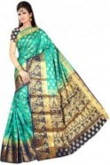 Krishna Sarees APS19258 Jade Green and Navy Blue Fancy Art Silk Party Saree