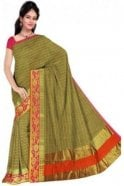 PCS19203  Green and Pink Poly Cotton Saree - With Unstitched Blouse Piece