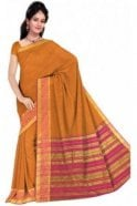 Glamourous Pink and  Yellow Cotton Silk Saree with Matching Unstitched Blouse