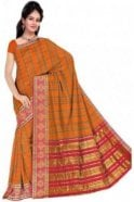 PCS19264  Orange and Pink Poly Cotton Saree - With Unstitched Blouse Piece