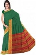 PCS19289  Green and Red Poly Cotton Saree - With Unstitched Blouse Piece