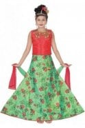 GLC19082 Pink and Green Girl's Lengha Choli