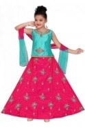 GLC19084 Blue and Pink Girl's Lengha Choli
