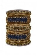 BANAS05-04 Blue and Antique Gold Stone and Bead Womens Bangles