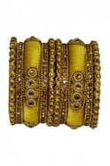 BAN1089-04 Yellow and Gold Thread and Stone Womens Bangles