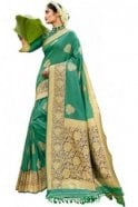 BEN19093-235D Jade Green  and Navy Benarasi Art Silk Saree