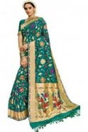 BEN19105-237D Jade Green  and Gold Benarasi Art Silk Saree