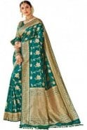 BEN19111-229B Jade Green and Gold Benarasi Art Silk Saree