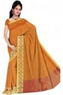 PCS19379  Mustard and Red Poly Cotton Saree- With Unstitched Blouse Piece