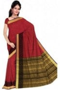 Fancy Black and  Red Cotton Silk Saree with Matching Unstitched Blouse