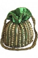 Pot_Gre Green and Antique Gold Indian Potli / Batwa Bag