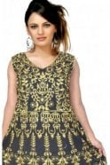 WCS19352 Black  and Gold Designer Churidar Salwar Kameez