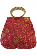 POT19022 Pink and Gold Indian Potli Batwa Dolly Bag