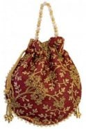 POT19015 Maroon and Gold Indian Potli Batwa Dolly Bag