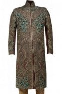 MTS19070 Maroon, Green and Gold Men's Sherwani Suit