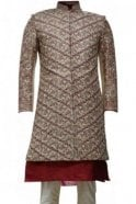 MTS19073 Red and Gold Men's Sherwani Suit