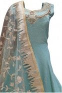 WPD19107 Blue and Gold Designer Churidar Suit Gown