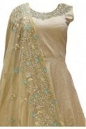 WPD19118 Beige and Turquoise Designer Churidar Suit Gown
