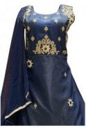 WPD19153 Navy Blue and Gold Designer Churidar Suit Gown