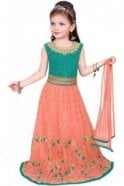 GLC19156 Jade Green and Peach Girl's Lengha Choli