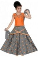 GLC19159 Peach and Grey Girl's Lengha Choli