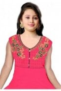Pink and Navy Blue Girl's Churidar Suit