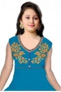 Turquoise and Navy Blue Girl's Churidar Suit