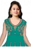 Jade Green and Navy Blue Girl's Churidar Suit