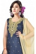 WCS19361 Navy Blue and Beige Designer Churidar Salwar Kameez