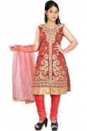 WCS19367 Red and Gold Designer Churidar Salwar Kameez