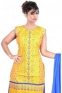 WCS19448 Yellow and Blue Designer Churidar Salwar Kameez