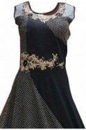 WPD19227 Black and Gold Designer Churidar Suit Gown