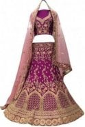 Krishna Sarees WBL20015 Gorgeous  Purple and Pink Bridal / Party Wear Lengha (Semi- Stitched)