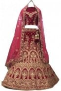 Krishna Sarees WBL20029 Stunning Rani Pink and Gold Bridal / Party Wear Lengha (Semi- Stitched)