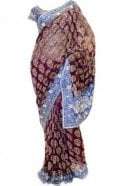 DSS20009 Maroon and Navy Blue Net and Faux Brasso Silk Saree