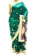 DSS20028 Green and Blue Faux Silk Saree
