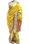 DSS20040 Maroon and Gold Faux Silk Saree