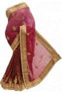 DSS20062 Pink and Light Pink Faux Chiffon Saree